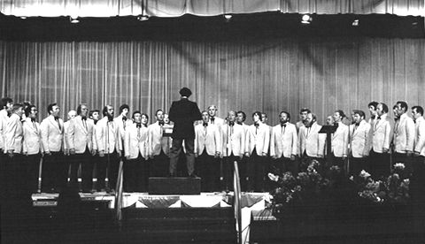 The choir's winning performance at Cardigan National Eisteddfod, 1976