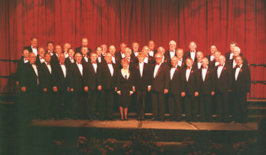 The choir at the Stenaline Choral Competition, Llandudno in 1999