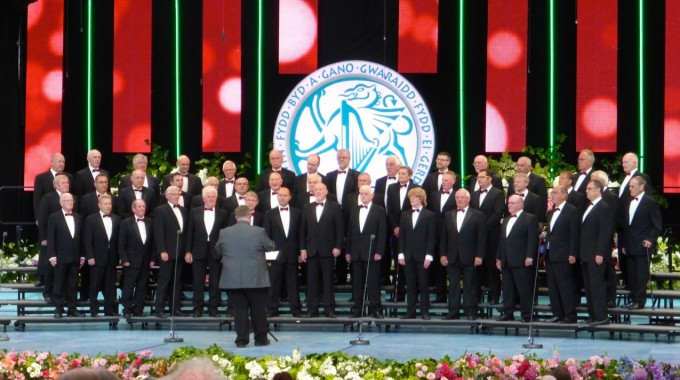 Choir on stage in Llangollen International Eisteddfod  2015